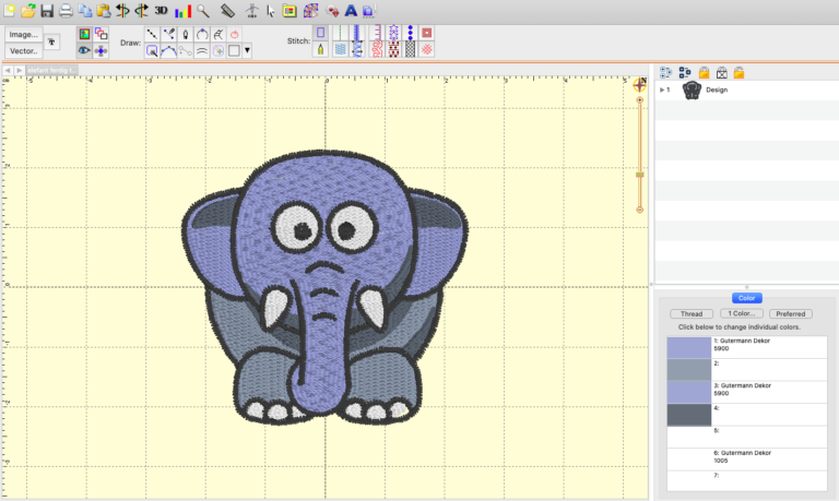 Elefant i StitchArtist